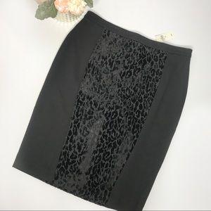 Ann Taylor Black Animal Print Skirt